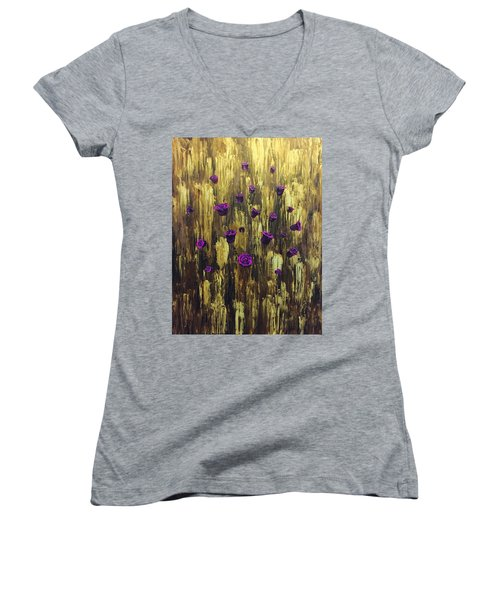 Floating Royal Roses 1 Women's V-Neck T-Shirt