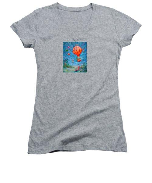 Floating Under The Sea Women's V-Neck T-Shirt