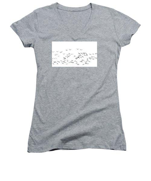 Flock Of Beautiful Migratory Lapwing Birds In Clear Winter Sky I Women's V-Neck T-Shirt (Junior Cut) by Matthew Gibson