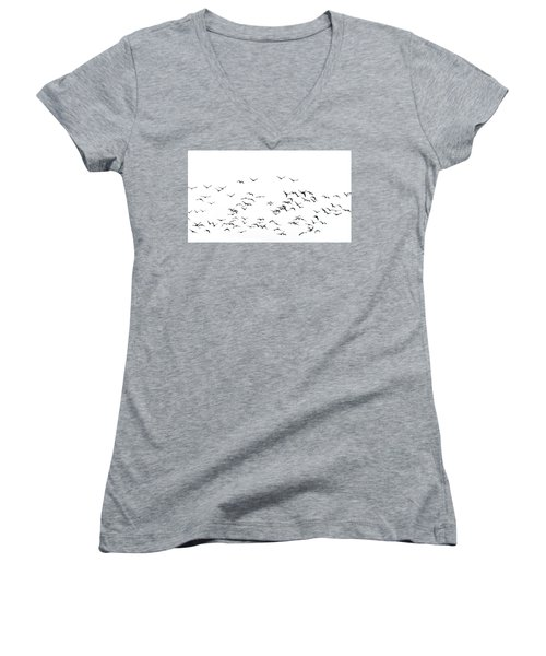 Flock Of Beautiful Migratory Lapwing Birds In Clear Winter Sky I Women's V-Neck T-Shirt
