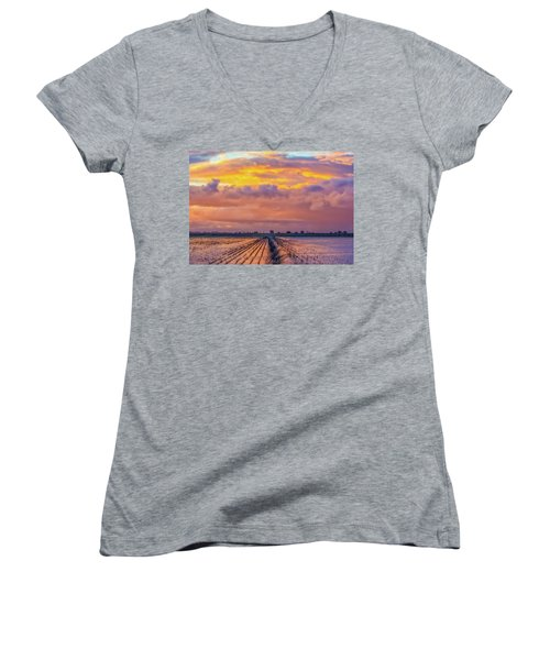 Flooded Field At Sunset Women's V-Neck (Athletic Fit)