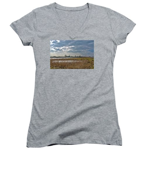 Floodplains Near Culemborg Women's V-Neck T-Shirt (Junior Cut) by Frans Blok