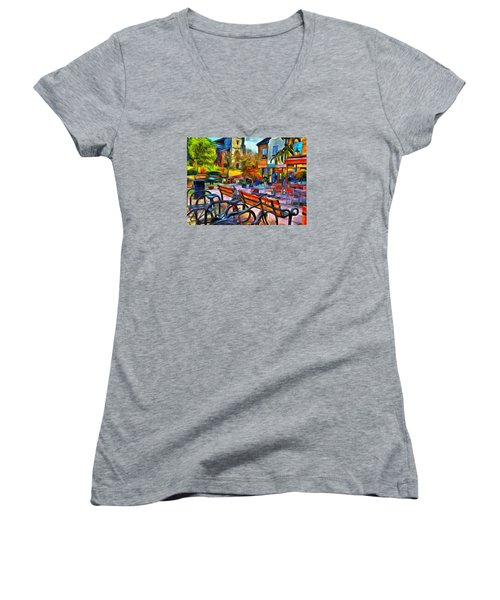 Floppy Bikes And Empty Benches Women's V-Neck