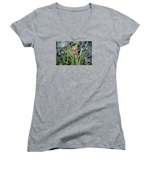 Flor Pina Women's V-Neck T-Shirt (Junior Cut) by Edgar Torres