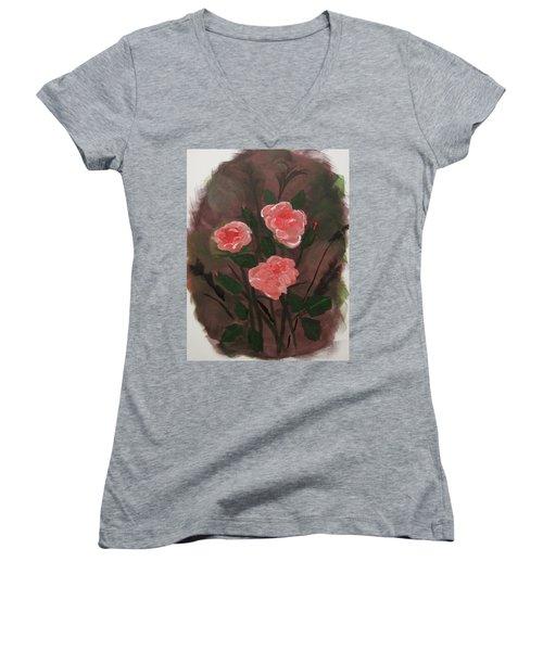 Floral Art Women's V-Neck (Athletic Fit)