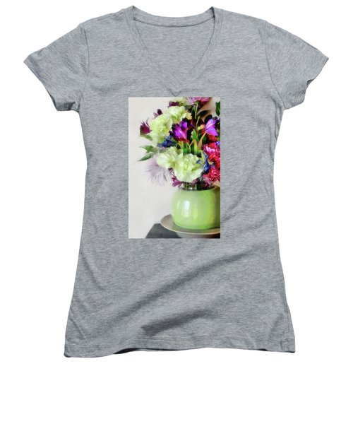 Floral Bouquet In Green Women's V-Neck (Athletic Fit)