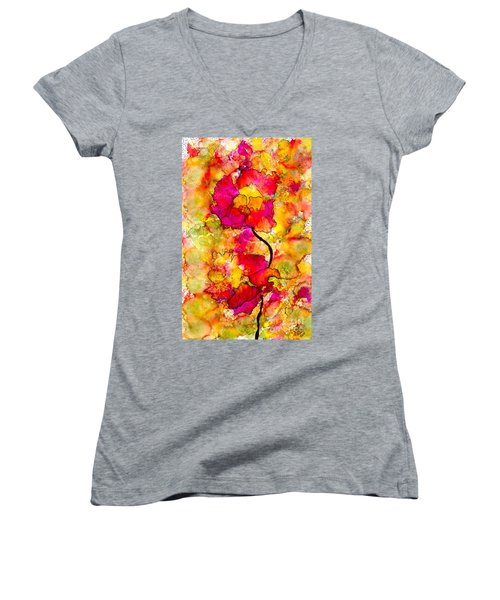Floral Duet Women's V-Neck T-Shirt (Junior Cut) by Angela L Walker