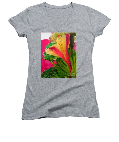 Floral Fusion Women's V-Neck (Athletic Fit)