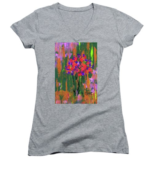 Women's V-Neck T-Shirt (Junior Cut) featuring the painting Floral Impresions by P J Lewis
