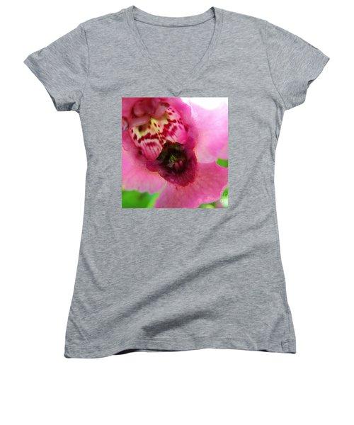 Floral Mask Women's V-Neck T-Shirt