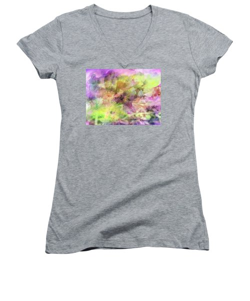 Floral Pastel Abstract Women's V-Neck T-Shirt (Junior Cut) by Mikki Cucuzzo