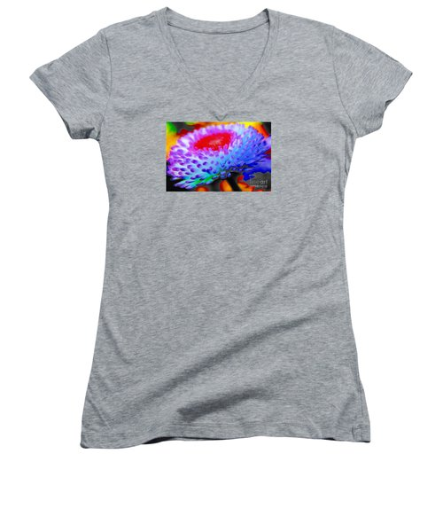 Floral Rainbow Splattered In Thick Paint Women's V-Neck