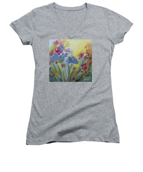 Women's V-Neck T-Shirt (Junior Cut) featuring the painting Floral Splendor by Stacey Zimmerman