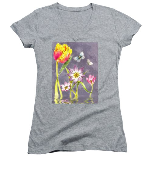Floral Supreme Women's V-Neck T-Shirt (Junior Cut) by Mario Carini