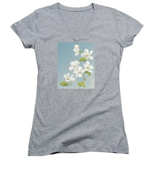 Floral Whorl Women's V-Neck (Athletic Fit)