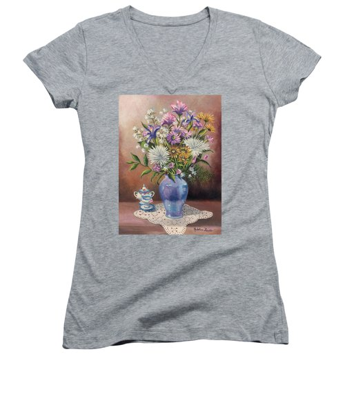 Floral With Blue Vase With Capadamonte Women's V-Neck (Athletic Fit)