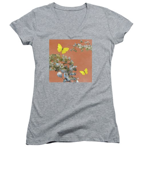 Floral06 Women's V-Neck (Athletic Fit)