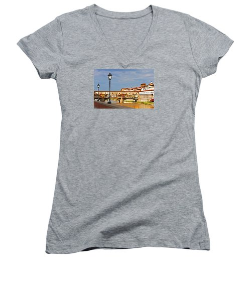 Florence Arno River View Women's V-Neck T-Shirt (Junior Cut) by Dennis Cox WorldViews
