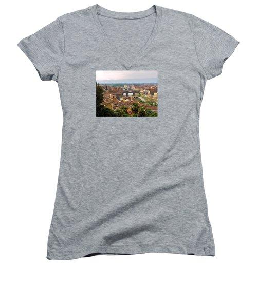 Women's V-Neck T-Shirt (Junior Cut) featuring the photograph Florence Bridges by Haleh Mahbod