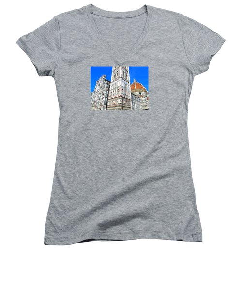 Florence Duomo Cathedral Women's V-Neck T-Shirt (Junior Cut) by Lisa Boyd