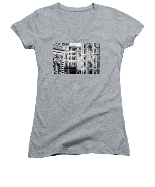 Women's V-Neck T-Shirt (Junior Cut) featuring the photograph Florence Italy View Bw by Joan Carroll