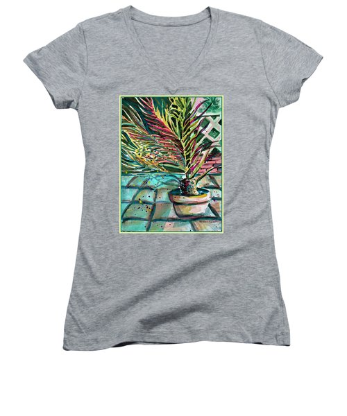 Women's V-Neck T-Shirt (Junior Cut) featuring the painting Florescent Palm by Mindy Newman