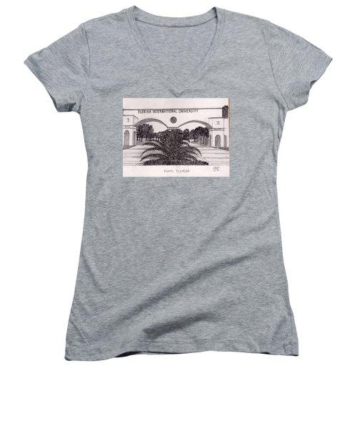 Florida International University Women's V-Neck T-Shirt (Junior Cut) by Frederic Kohli