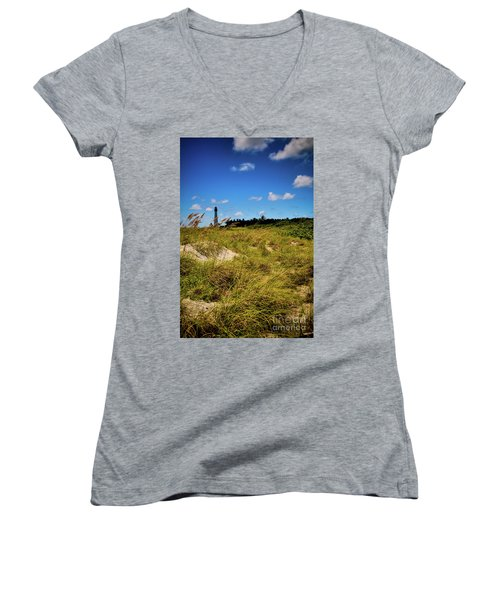 Women's V-Neck T-Shirt (Junior Cut) featuring the photograph Florida Lighthouse  by Kelly Wade