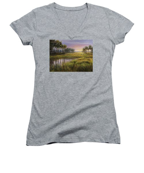 Florida Marsh Sunset Women's V-Neck T-Shirt
