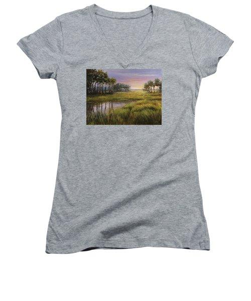 Florida Marsh Sunset Women's V-Neck