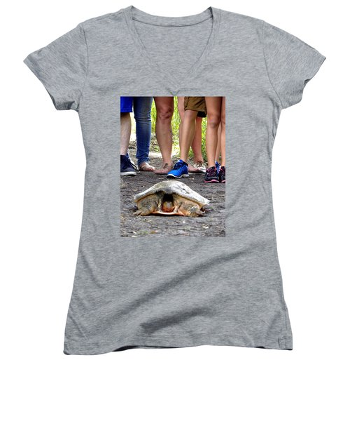 Women's V-Neck T-Shirt (Junior Cut) featuring the photograph Florida Softshell Turtle 003 by Chris Mercer