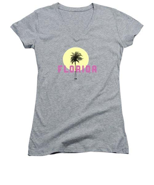 Florida Tee Women's V-Neck T-Shirt (Junior Cut) by Edward Fielding