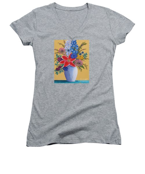 Florist's Creation Women's V-Neck T-Shirt (Junior Cut) by Anne Marie Brown