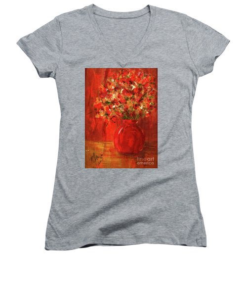 Women's V-Neck T-Shirt (Junior Cut) featuring the painting Florists Red by P J Lewis