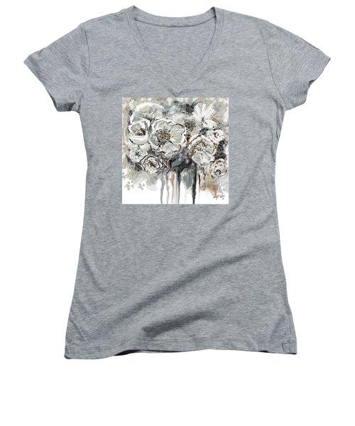 Floral Anxiety  Women's V-Neck T-Shirt (Junior Cut)