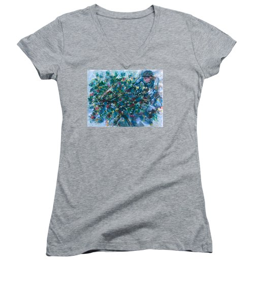 Women's V-Neck T-Shirt (Junior Cut) featuring the painting Flow Away by Laila Awad Jamaleldin