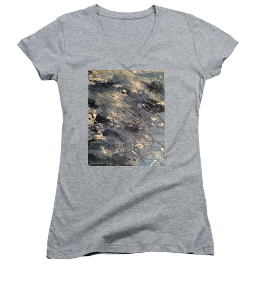 Women's V-Neck T-Shirt featuring the painting Flow by Denise Tomasura