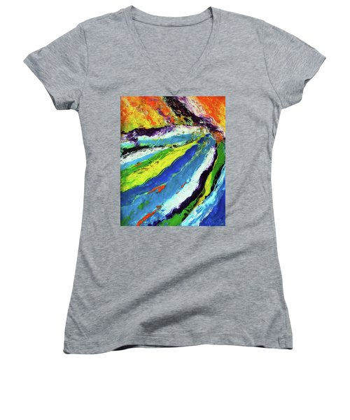 Women's V-Neck T-Shirt (Junior Cut) featuring the painting Flowage by Everette McMahan jr