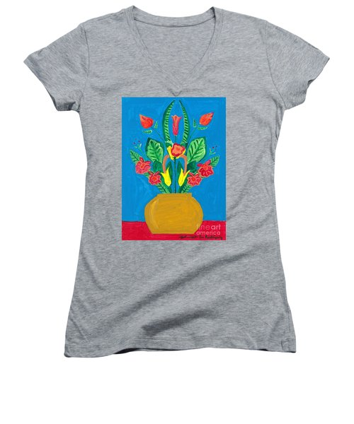 Flower Bowl Women's V-Neck T-Shirt (Junior Cut) by Margie-Lee Rodriguez