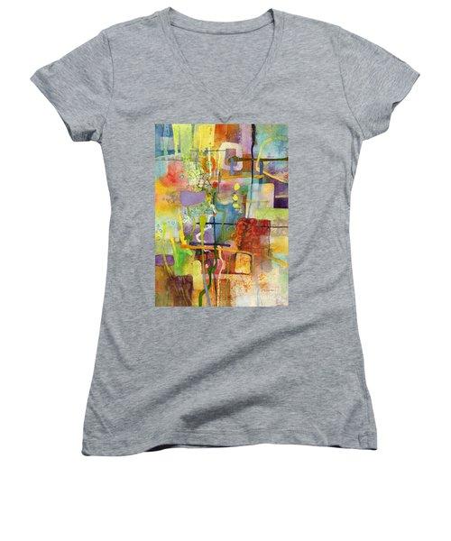 Flower Dance Women's V-Neck T-Shirt (Junior Cut) by Hailey E Herrera