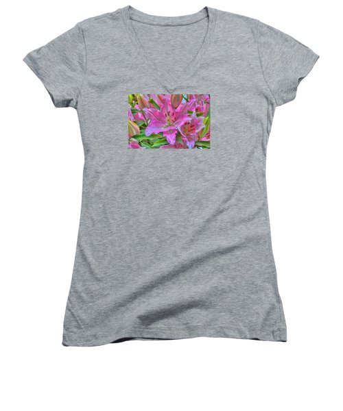 Flower Delight Women's V-Neck T-Shirt (Junior Cut) by Nadia Sanowar