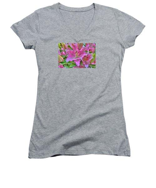 Flower Delight Women's V-Neck