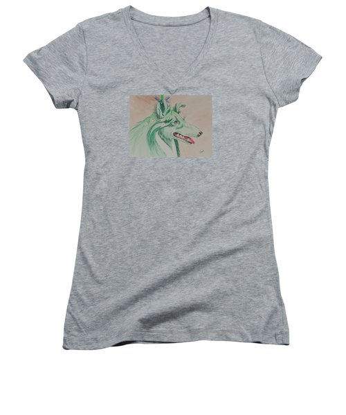 Women's V-Neck T-Shirt (Junior Cut) featuring the painting Flower Dog # 11 by Hilda and Jose Garrancho