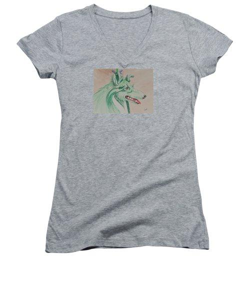 Flower Dog # 11 Women's V-Neck T-Shirt