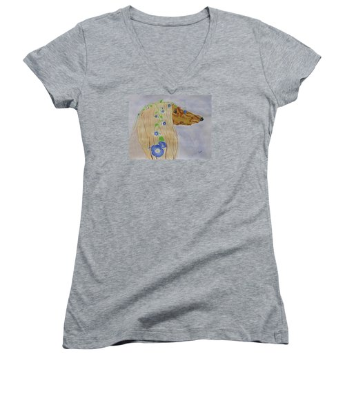 Women's V-Neck T-Shirt (Junior Cut) featuring the painting Flower Dog 10 by Hilda and Jose Garrancho