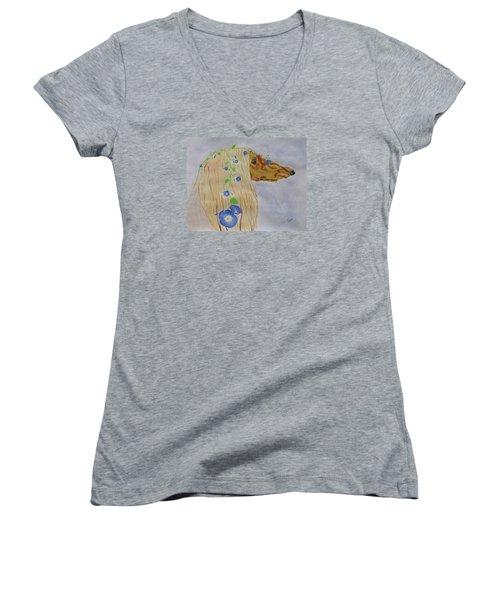 Flower Dog 10 Women's V-Neck T-Shirt