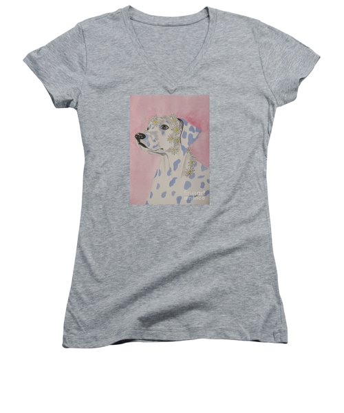 Women's V-Neck T-Shirt (Junior Cut) featuring the painting Flower Dog 2 by Hilda and Jose Garrancho
