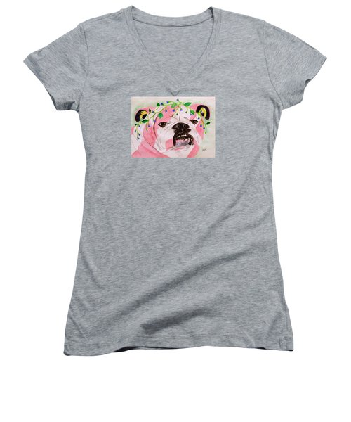 Women's V-Neck T-Shirt (Junior Cut) featuring the painting Flower Dog 3 by Hilda and Jose Garrancho