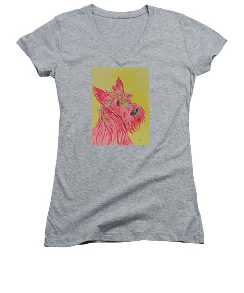 Women's V-Neck T-Shirt (Junior Cut) featuring the painting Flower Dog 6 by Hilda and Jose Garrancho