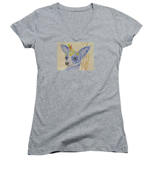 Women's V-Neck T-Shirt (Junior Cut) featuring the painting Flower Dog 7 by Hilda and Jose Garrancho